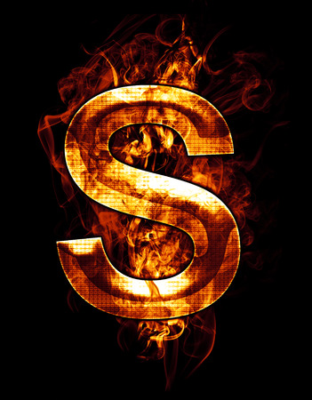 s, illustration of  letter with chrome effects and red fire on black background Stock Photo