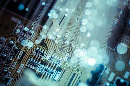 Fiber optic cables, fibre connection, telecomunications concept. vibrant Standard-Bild