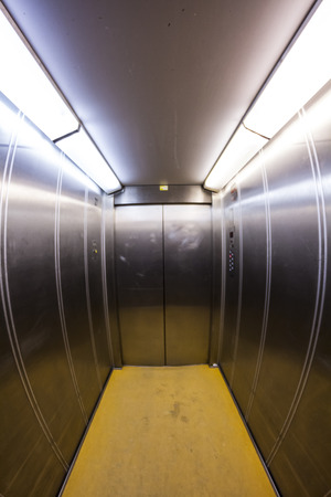 Elevator interior, hospital architecture. door photo