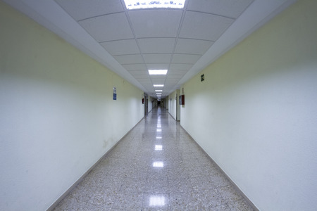 white hospital corridor, clean and hygienic space photo