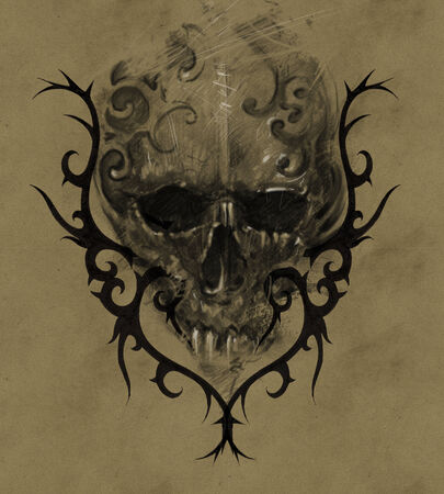 Tattoo skull over vintage paper, handmade illustration illustration