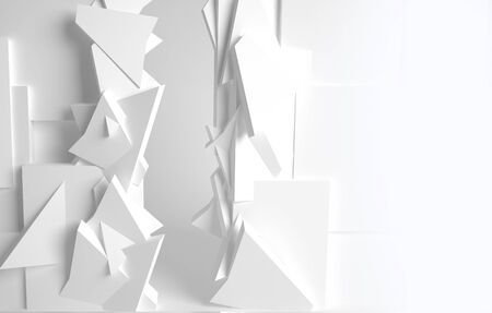 White room, 3d space with various forms photo