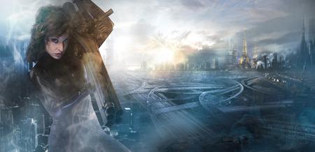 sci: Concepto futuro de la mujer, de l�tex negro con luces de ne�n sobre la ciudad destruida