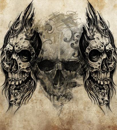 dode bladeren: Schets van tattoo kunst, handgemaakte illustratie