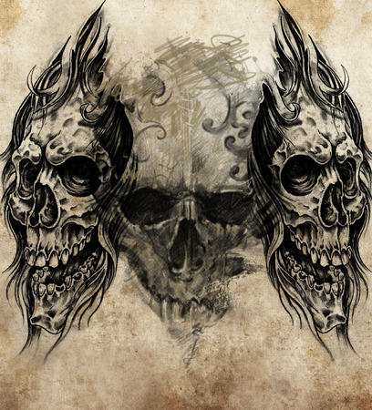 skull crossbones: Sketch of tattoo art, handmade illustration Stock Photo