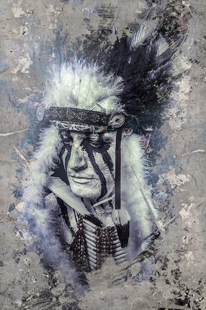 guerriero indiano: Guerriero indiano americano, capo della trib�. uomo con copricapo di piume e tomahawk Archivio Fotografico