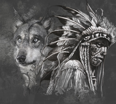 Wolf illustration. Tattoo design over grey background. textured backdrop. Artistic image Stock Photo