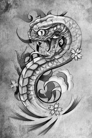 serpents: tattoo illustration, handmade draw over vintage paper