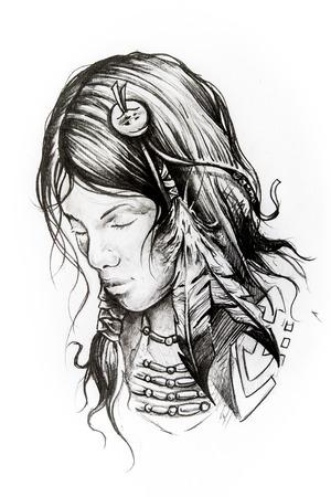 native american man: Handmade tattoo sketch over white paper Stock Photo
