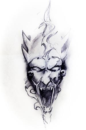 engel tattoo: Handmade Tattoo Skizze auf weißem Papier Lizenzfreie Bilder