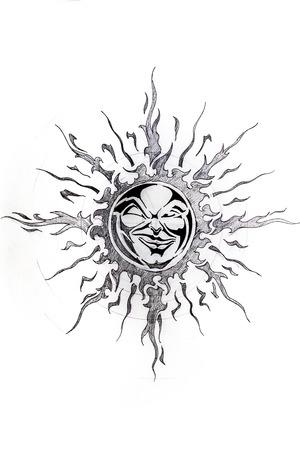 illustrazione sole: Tatuaggio schizzo a mano su carta bianca