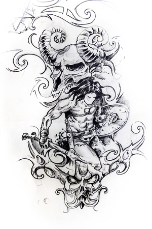 Handmade tattoo sketch over white paper photo