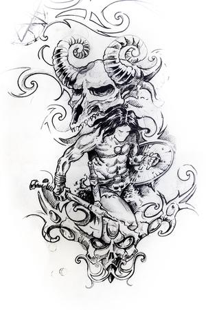 Handmade tattoo sketch over white paper Stock Photo