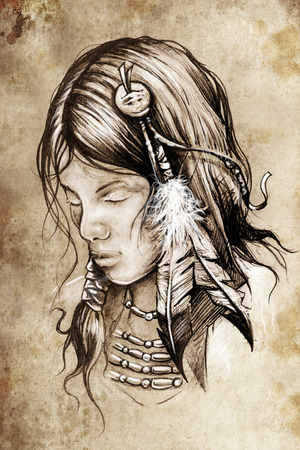 warrior tribal: Tattoo sketch, handmade design over vintage paper