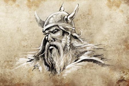 vikingo: Bosquejo del tatuaje, dise�o hecho a mano sobre papel de �poca