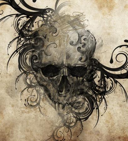 skull tattoo: Sketch of tattoo art, handmade illustration Stock Photo