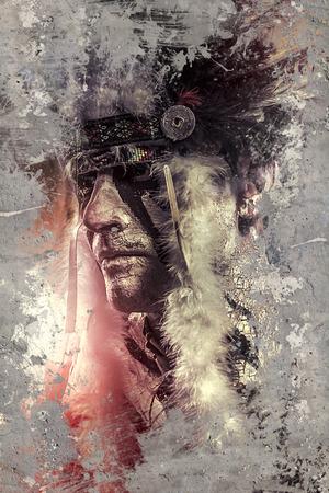 indianen: Indiaan strijder, leider van de stam. man met veren hoofdtooi en tomahawk
