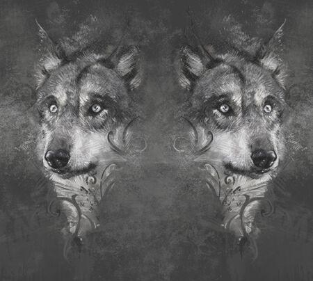 Wolf illustration. Tattoo design over grey background. textured backdrop. Artistic image illustration