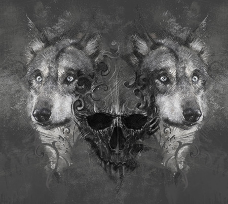 Wolf illustration. Tattoo design over grey background. textured backdrop. Artistic image illustration