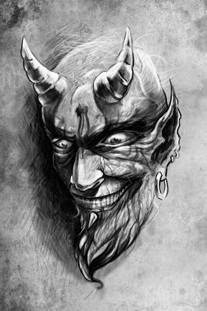 satanas: ilustración del tatuaje, dibujo hecho a mano sobre papel de época