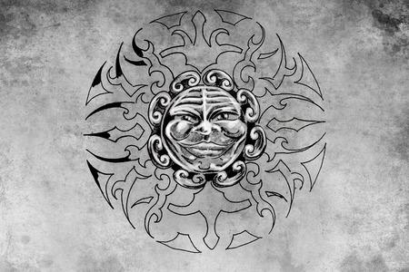 tattoo illustration, handmade draw over vintage paper illustration