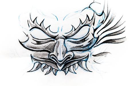 Handmade tattoo sketch over white paper Stok Fotoğraf