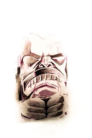 haida indian: Handmade tattoo sketch over white paper Stock Photo