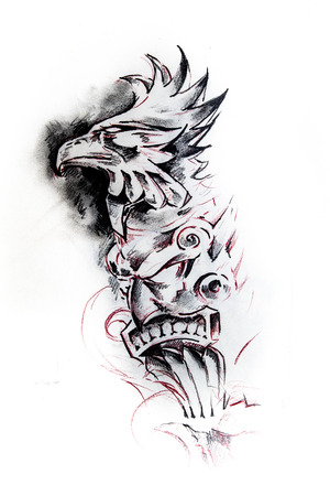 the totem pole: Handmade tattoo sketch over white paper Stock Photo