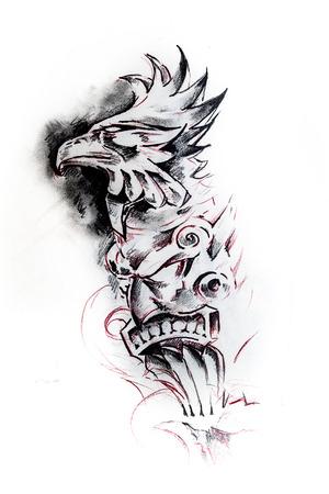 shaman: Handmade tattoo sketch over white paper Stock Photo