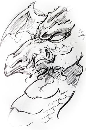 celtic mythology: Handmade tattoo sketch over white paper Stock Photo