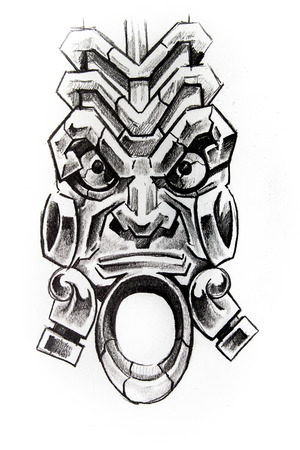 Handmade tattoo sketch over white paper photo