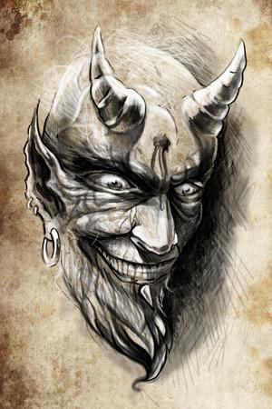 satan: Tattoo Illustration, handgemachte Aufnahme über Vintage-Papier