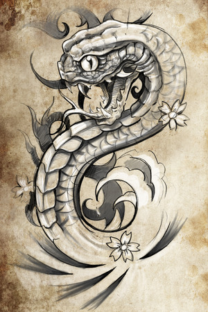 tattoo illustration, handmade draw over vintage paper Stock Illustration - 26978535