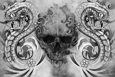 gore: Tattoo design over grey . textured backdrop. Artistic image Stock Photo
