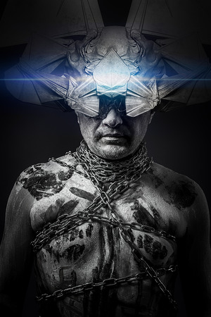 Alien, man chained with fantasy mask, fineart photo