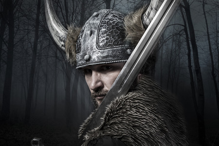 warrior: Sword, Viking warrior with helmet over vintage textured  Stock Photo