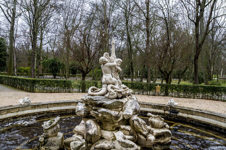 Ornamental fountains of the Palace of Aranjuez, Madrid, Spain photo