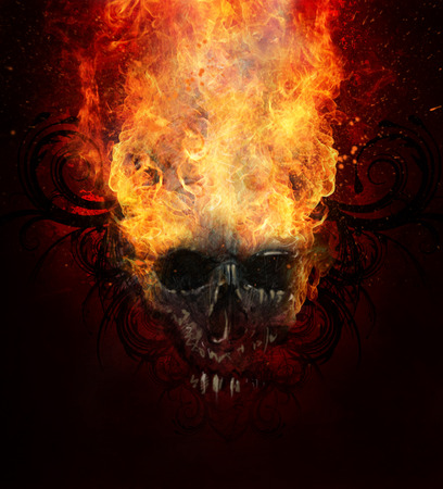 fire skull: Burning skull. Sketch of tattoo art, fire with tribal flourishes
