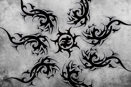 Tattoo design over grey background. textured backdrop. Artistic image photo