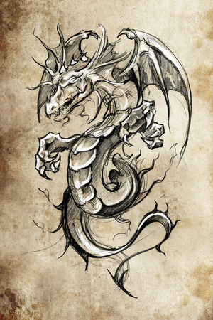 chinese new year dragon: Tattoo sketch, handmade design over vintage paper
