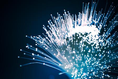 Fiber optics close-up, modern computer communication technology