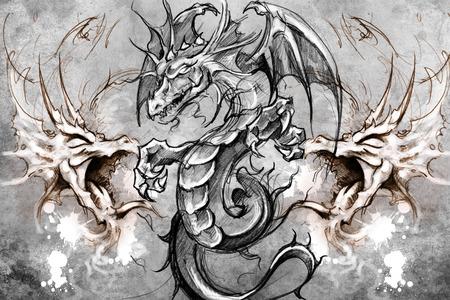 dragon tattoo: La conception de tatouage sur fond gris. toile de fond texturé. L'image artistique Banque d'images