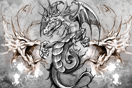dragon tattoo: Tattoo design over grey background. textured backdrop. Artistic image