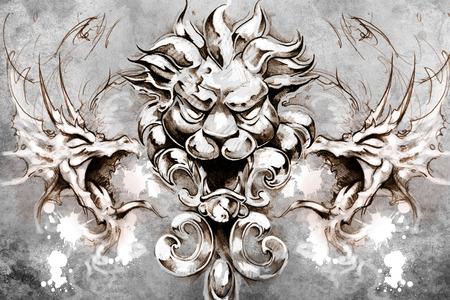 gargouille: La conception de tatouage sur fond gris. toile de fond textur�. L'image artistique Banque d'images