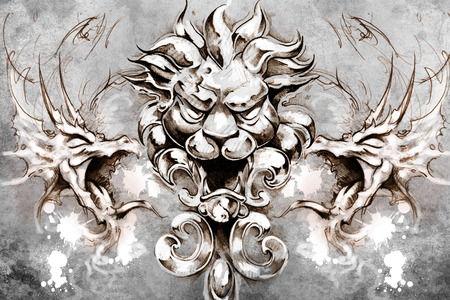 gargoyle: Tattoo design over grey background. textured backdrop. Artistic image