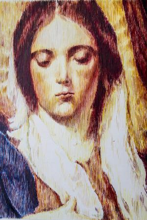 virgen maria: ilustraci�n hecha a mano sobre papel blanco Foto de archivo