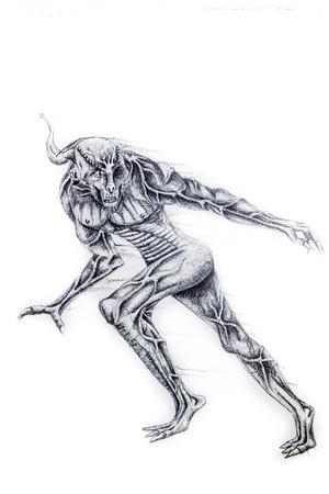 handmade illustration over white paper photo