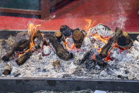 hot, barbecue with sausages and lamb in a medieval fair, Spain photo