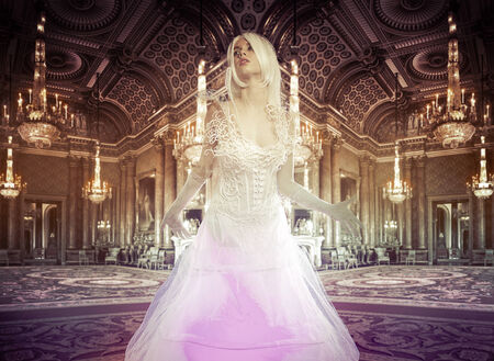 Lady in a luxury palace indoor, fineart photography, white pigeons photo
