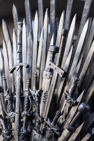 throne made of swords in a medieval fair photo
